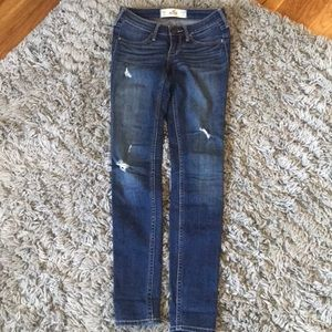 Hollister Ripped Blue Wash Skinny Jeans
